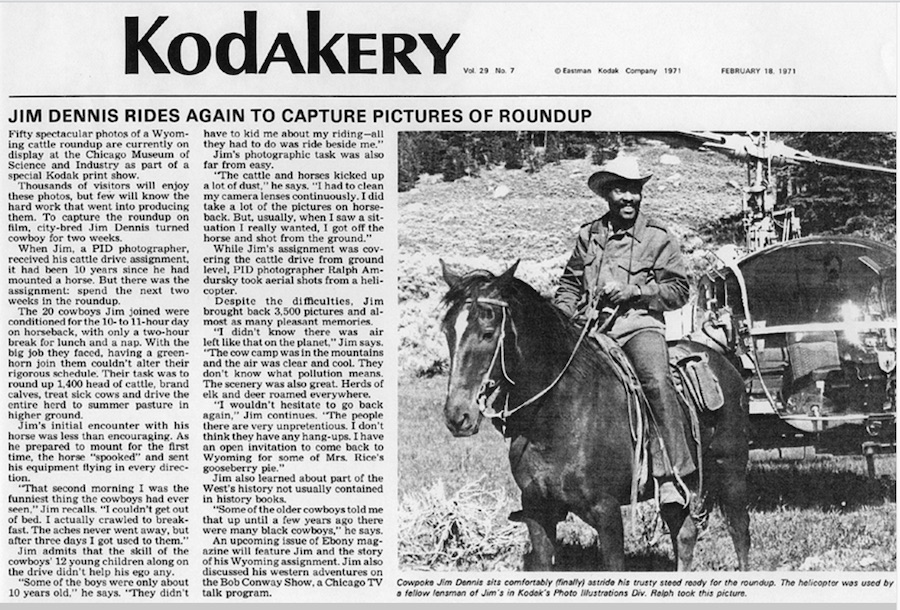 1971 article about Jim Dennis photoshoot in cowboy country.
