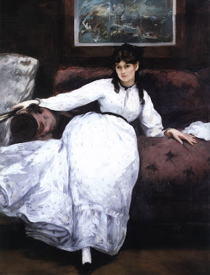 "Manet's famous Painting ""Repose"" shows us what Berthe looked like."