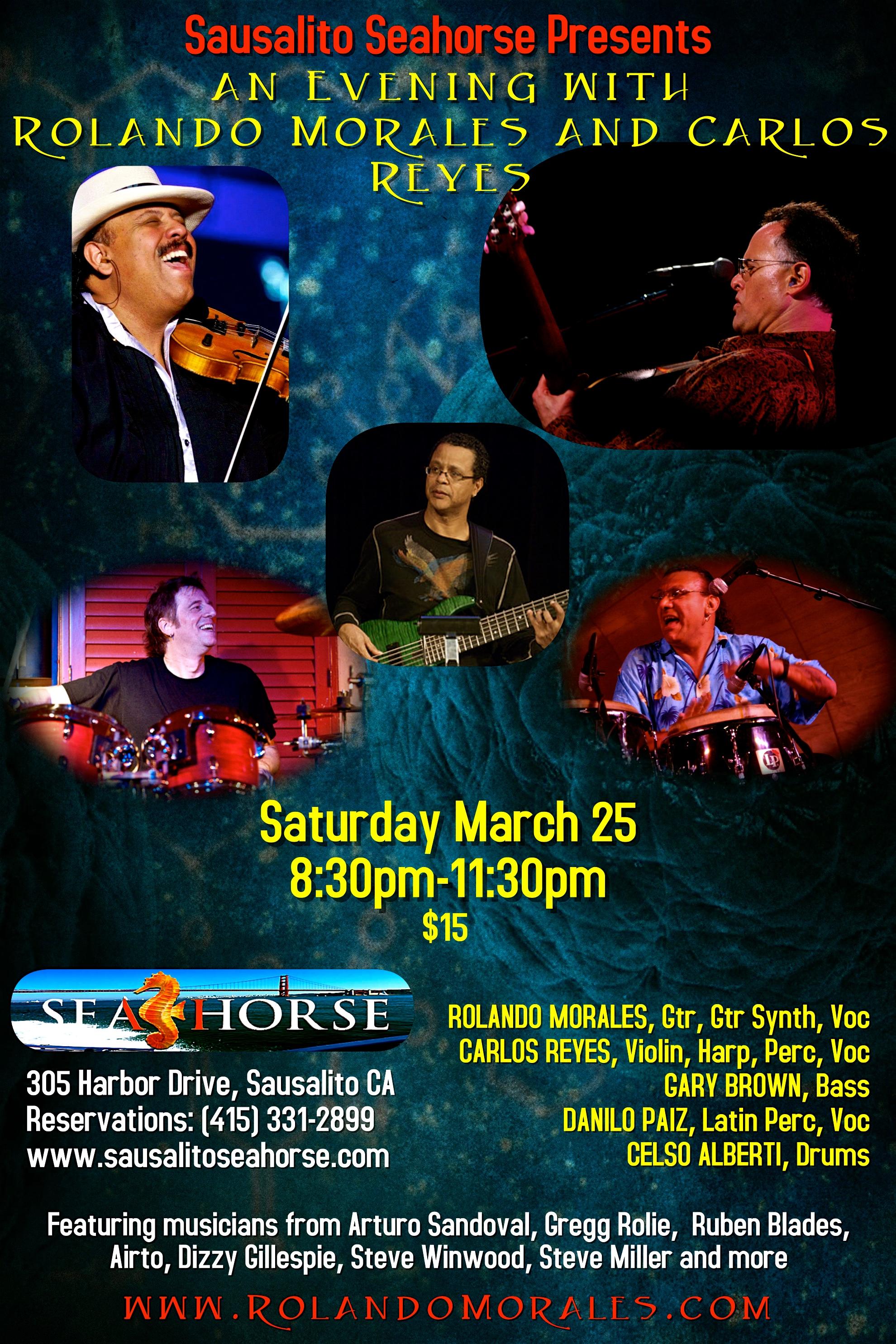 Full Rolando Morales Band will perform at Sausalito Seahorse March 25, 2017