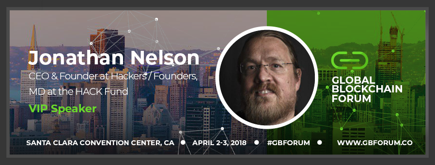 Jonathan Nelson speaks and leads panels at the Global Blockchain Forum
