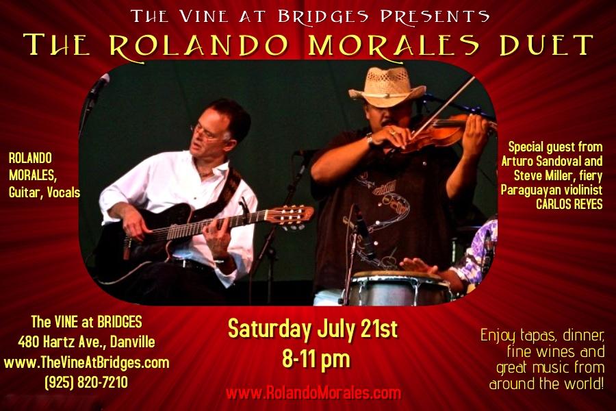 Carlos Reyes joins Rolando Morales at the Vine at Bridges, July 21 2018