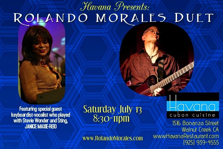 Janice Maxine-Reid joins Rolando Morales at Havana, Walnut Creek on July 13