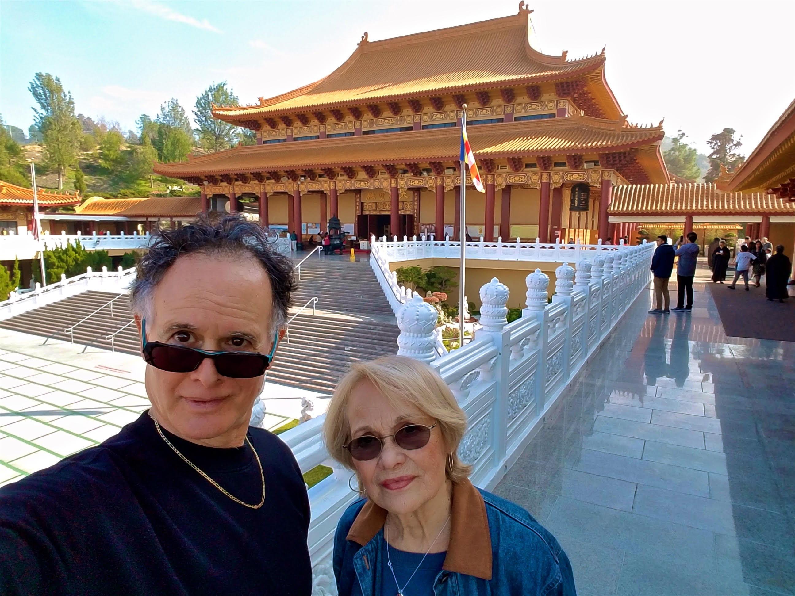 Rolando Morales, guitarist and vocalist, and his beautiful mom enjoying Xmas time at Guang Shan Hsi Lai Temple