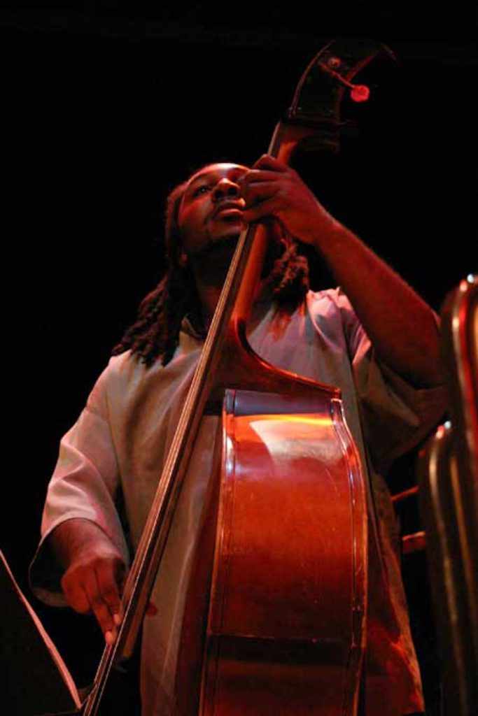 Gary Johnson, Bassist, at UC Jazz Ensembles show great promise. He is fabulous.