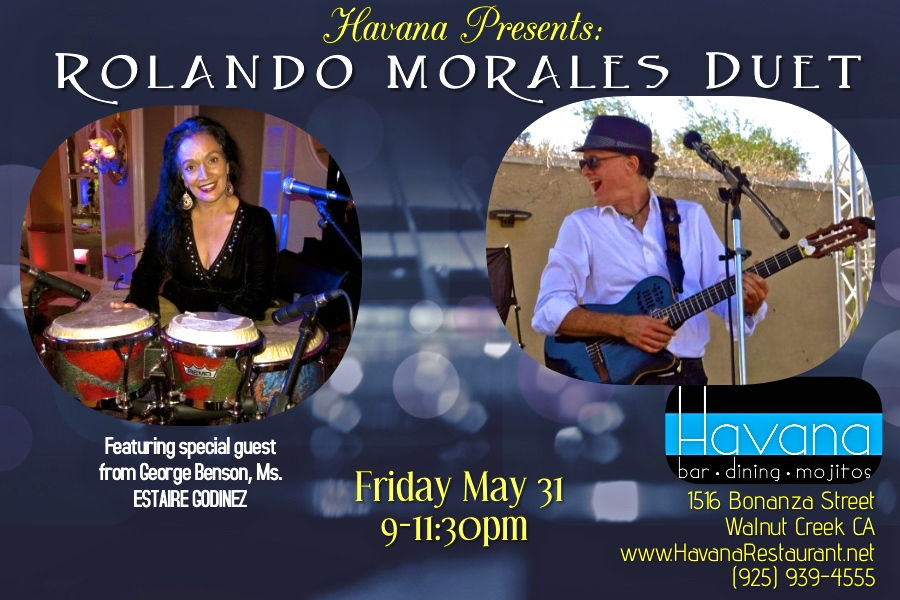 Rolando Morales will be joined by Estaire Godinez in Walnut Creek and May 31, 2019