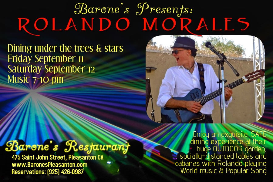 Rolando Morales will perform on Friday September 11, 2020 at Elevation LVK