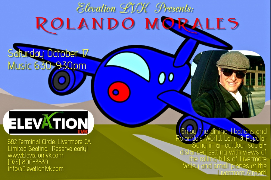Rolando Morales entertains at Elevation on Saturday, October 17, 2020 from 6:30pm until 9:30 pm