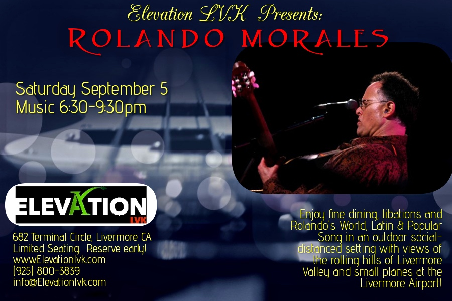 Rolando Morales will perform on Saturday September 5, 2020 at Elevatoin LVK
